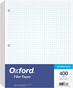 """Oxford Filler Paper, 8-1/2"""" x 11"""", 4 x 4 Graph Rule, 3-Hole Punched, Loose-Leaf Paper for 3-Ring Binders, 400 Sheets Per Pack (62360)"""