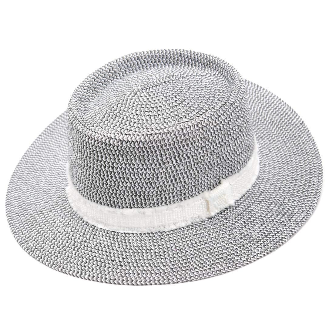 accsa Women UPF50+ Protection Wide Brim Straw Panama Bucket Fedora Beach Sun Hat with White Ribbon