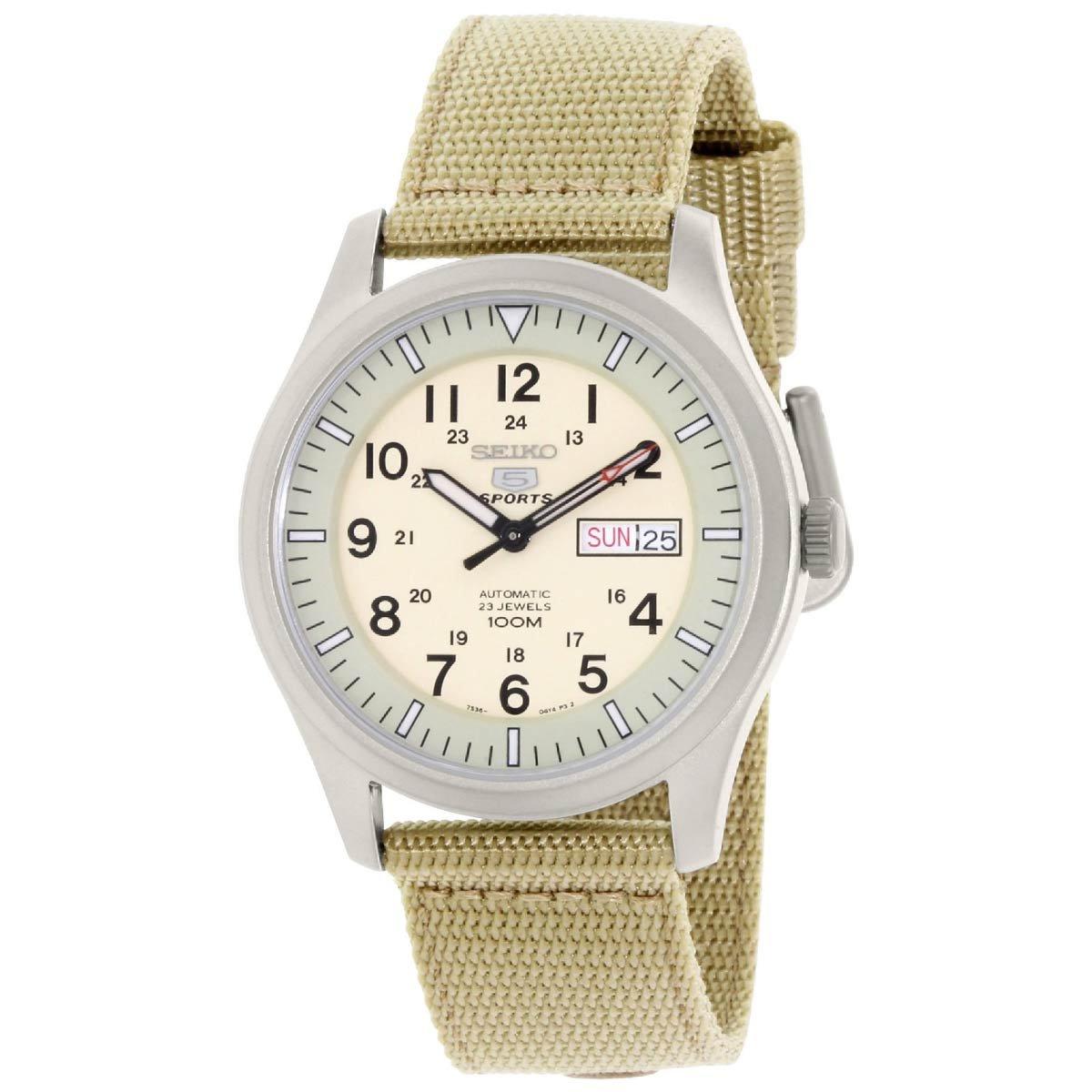40c140db78d Amazon.com  Seiko Men s 5 Sports Desert Military Automatic Men s Snzg07J1   Watch   Seiko  Watches