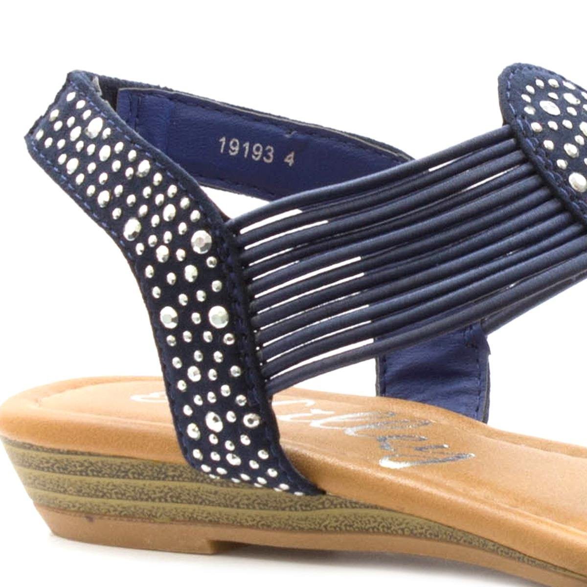 Lilley Womens Navy Sandal Studded Toe Post Wedge Sandal Navy B071S1CFNM Parent 3a6a9a