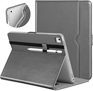 DTTO New iPad 9.7 Inch 5th/6th Generation 2018/2017 Case with Apple Pencil Holder, Premium Leather Folio Stand Cover Case for Apple iPad 9.7 inch, Also Fit iPad Pro 9.7/Air 2/Air - Gray(Grey Lining)