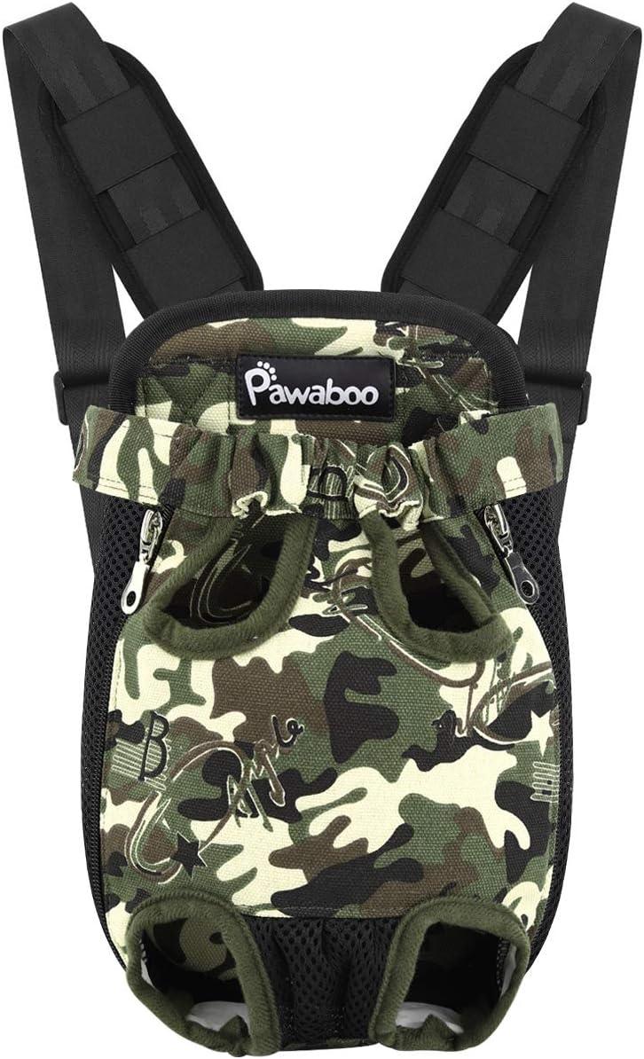Pawaboo Mochila del Perro - Adjustable Bolsa Delantera Pet Front Cat Dog Carrier Backpack/Piernas Afuera & Fácil de Ajustar para Viajar/Senderismo/Camping, Talla S - Camuflaje
