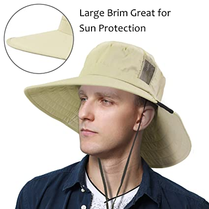 9add0734ce6 Tirrinia Unisex Outdoor Safari Sun Hat Wide Brim Boonie Cap with Adjustable  Drawstring for Camping Hiking