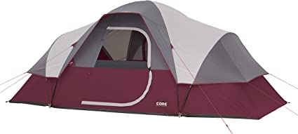 Red CORE Extended Dome Tent 16 x 9 Foot 9 Person Camping Tent with Air Vents