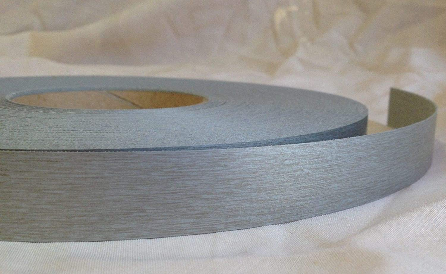 Pre Glued Iron on Melamine Brushed Aluminium Edging Tape 22mm wide Various Lengths .Free Postage (10 metres)