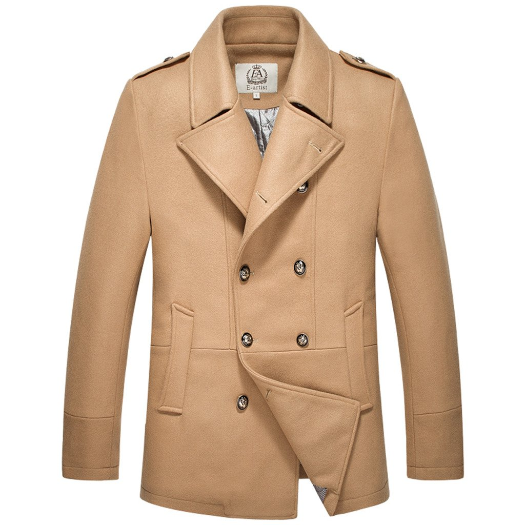 E-artist Men's Wool Pea Coats Double Breasted Overcoat N31 Camel X-Large by E-artist (Image #2)