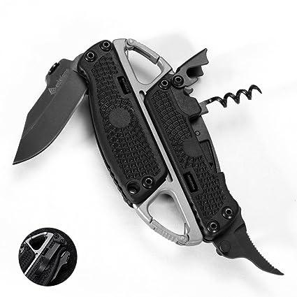 Amazon.com: Cuchillo de bolsillo plegable con abrebotellas ...