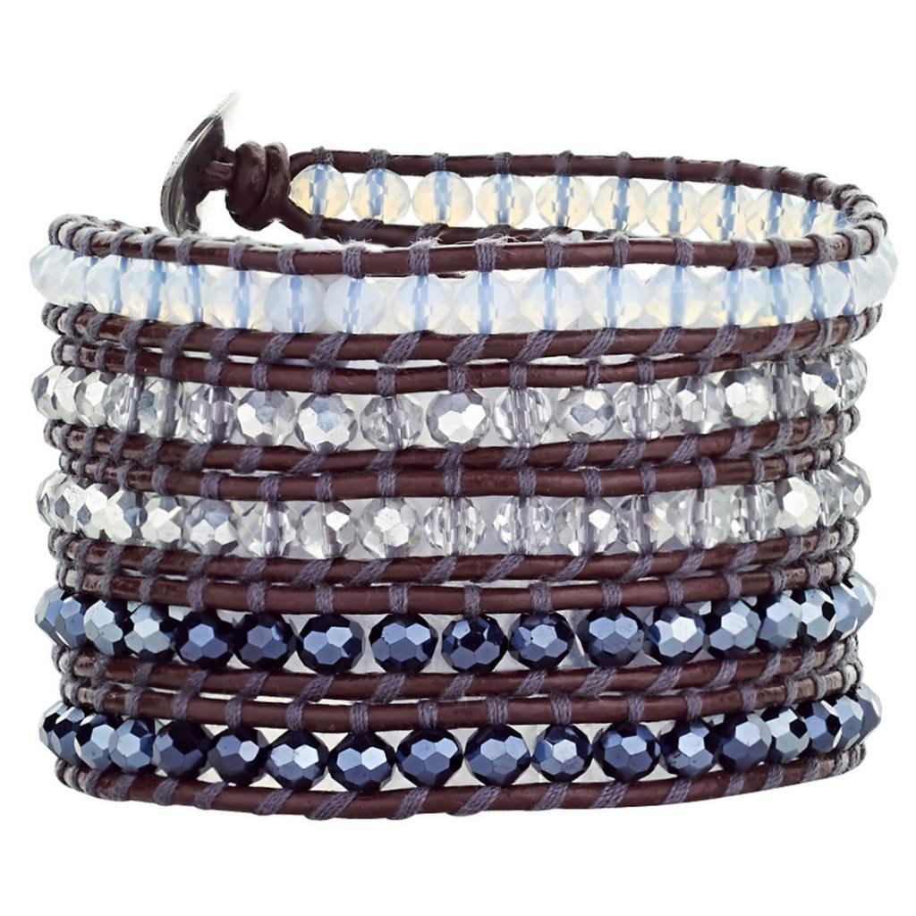 Babao Jewelry Sparkling Faceted Clear White Black AB Crystal Beads Leather 5 Wraps Bracelet