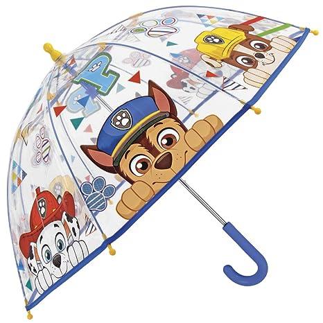 Paraguas Paw Patrol La Patulla Canina - Paraguas para niño Transparente de cúpula, Resistente,