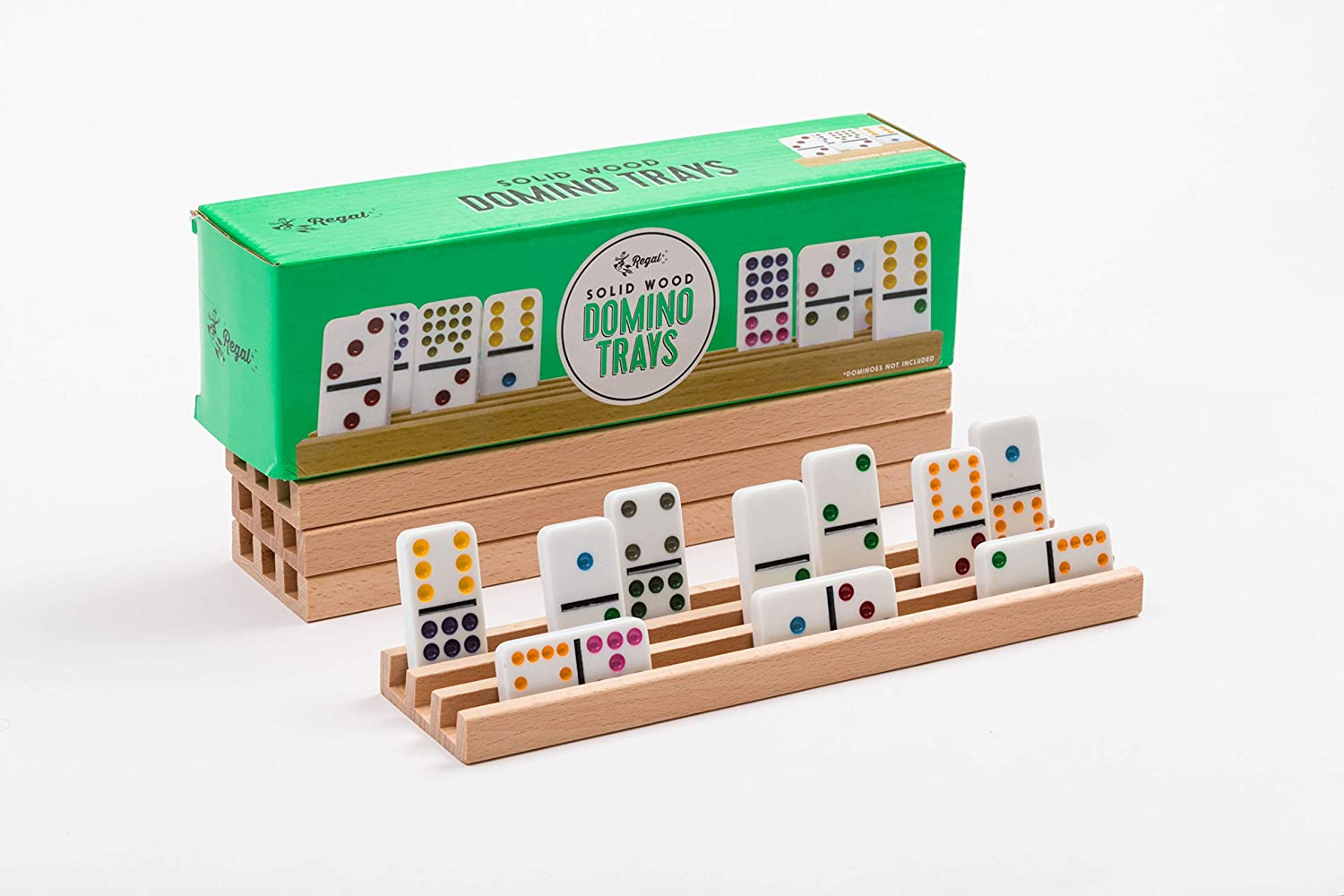 Regal Games Solid Natural Wood Domino Trays, Set of 4