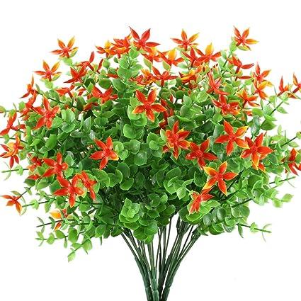 Amazon.com: HOGADO Artificial Fake Plants, 4pcs Faux Greenery Shrubs ...
