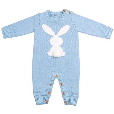 3b9405f085c6 DEARWEN Baby Boys Long Sleeve Knitted Bodysuits Sweater Jumpsuits Winter  Warm Blue