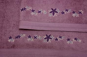 Montse Interiors Juego de Toallas Bordadas 2 piezas 550gr (Morado Flores Nº12): Amazon.es: Hogar