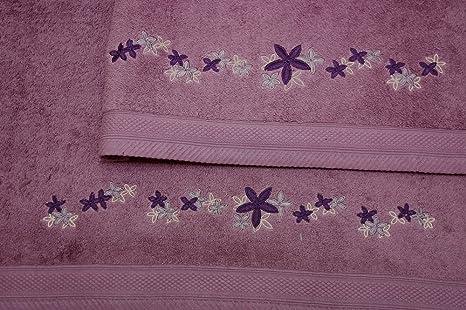 Montse Interiors Juego de Toallas Bordadas 2 piezas 550gr (Morado Flores Nº12)