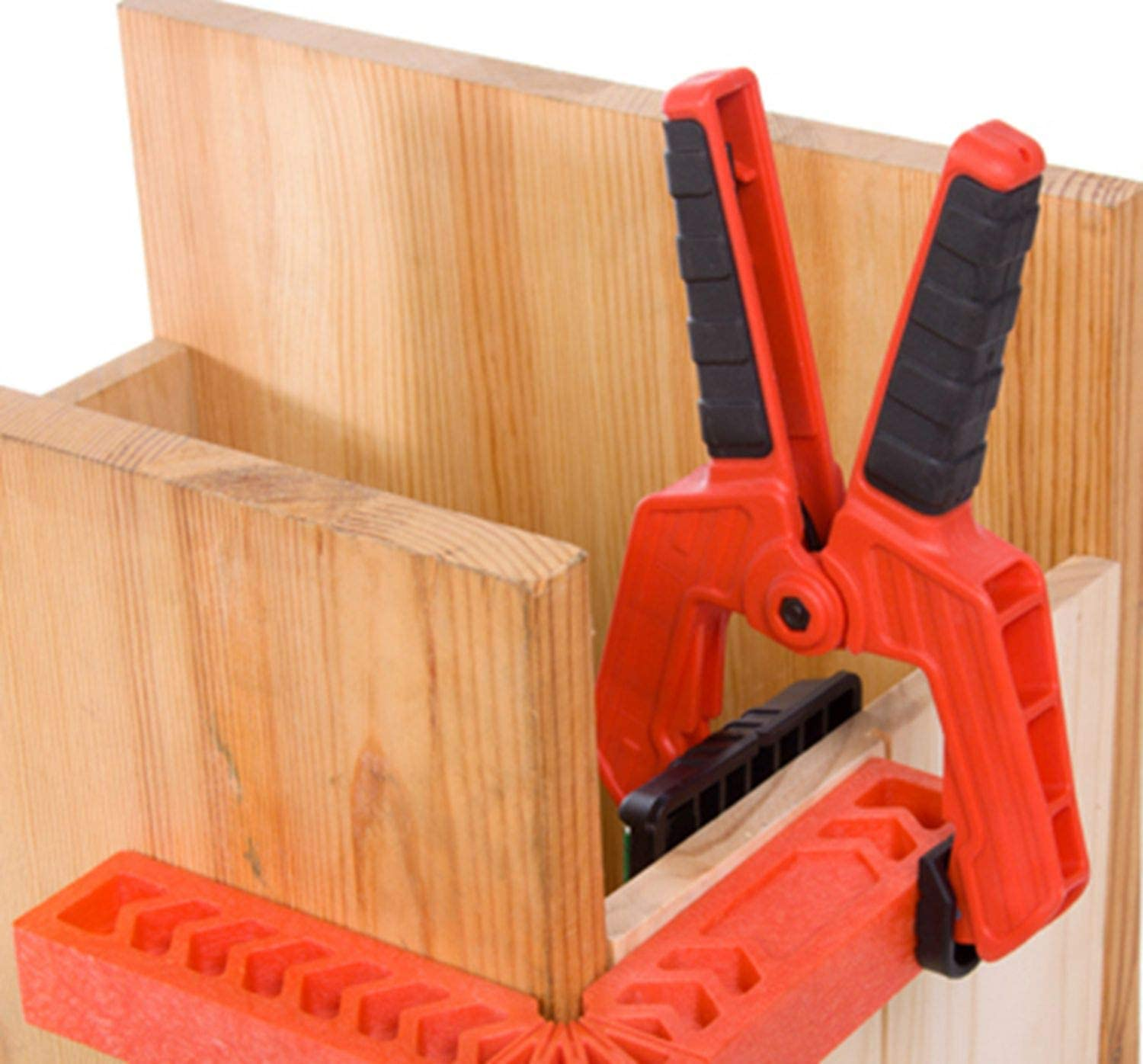 Fladess Woodworking Project Kits Hand Tools,The 8 Inch Spring Clamps With Set of 2 and 8 Inch Positioning Squares With Set of 2 Red Squares