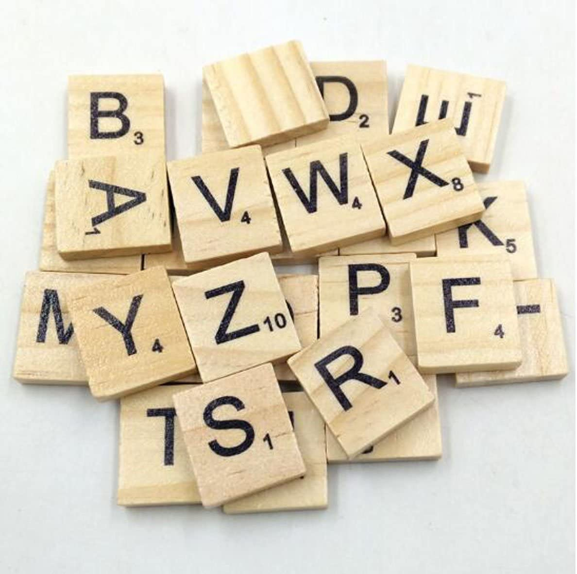 20x18x5mm//Pc 100 Pieces Wooden Scrabble Letters Word Tiles DIY Spelling Learn Letters Crafts Scrapbooking Pendants
