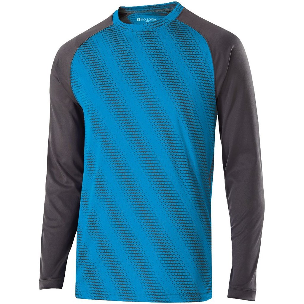 Holloway Youth Torpedo Semi-Fitted Long Sleeve Shirt (X-Large, Bright Blue) by Holloway