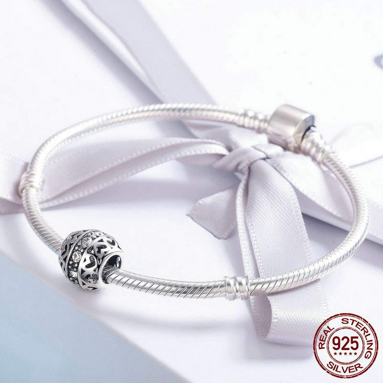 EverReena Stackable Heart Bead Clear Elegant CZ Stone Silver Beads Bracelets