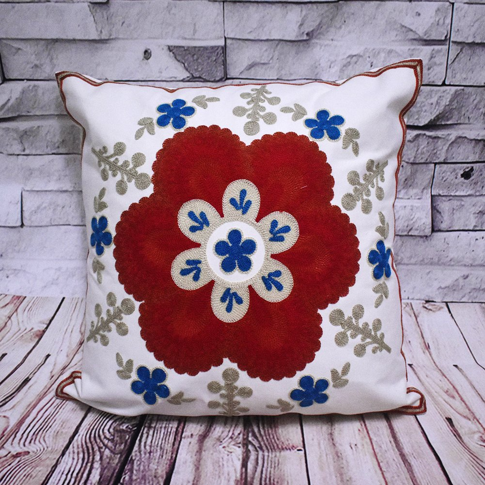 Home4Joys Snowflake Cushion Cover 18x18 Embroidered Throw Pillow Case//Shell Blue and Red