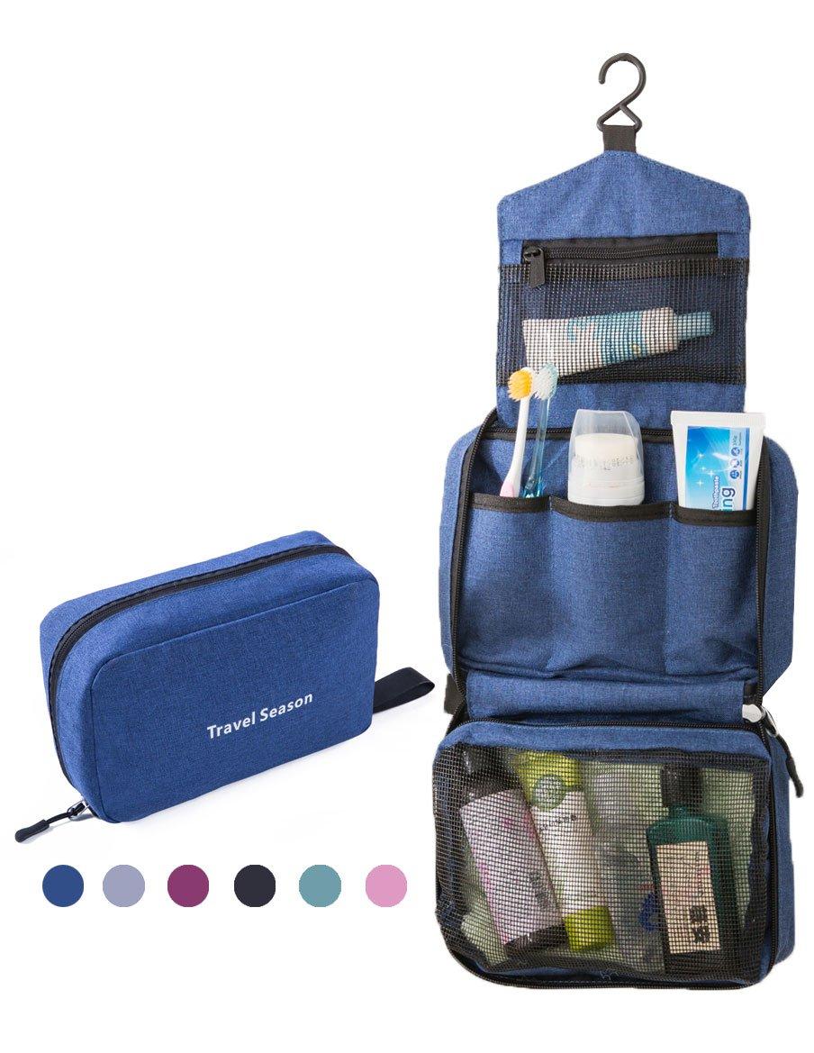 Feeker Travel Hanging Toiletry Bag, Waterproof Portable Dopp Kit, Makeup Cosmetic Organizer Bathroom Shaving Case for Men/Women (Blue)