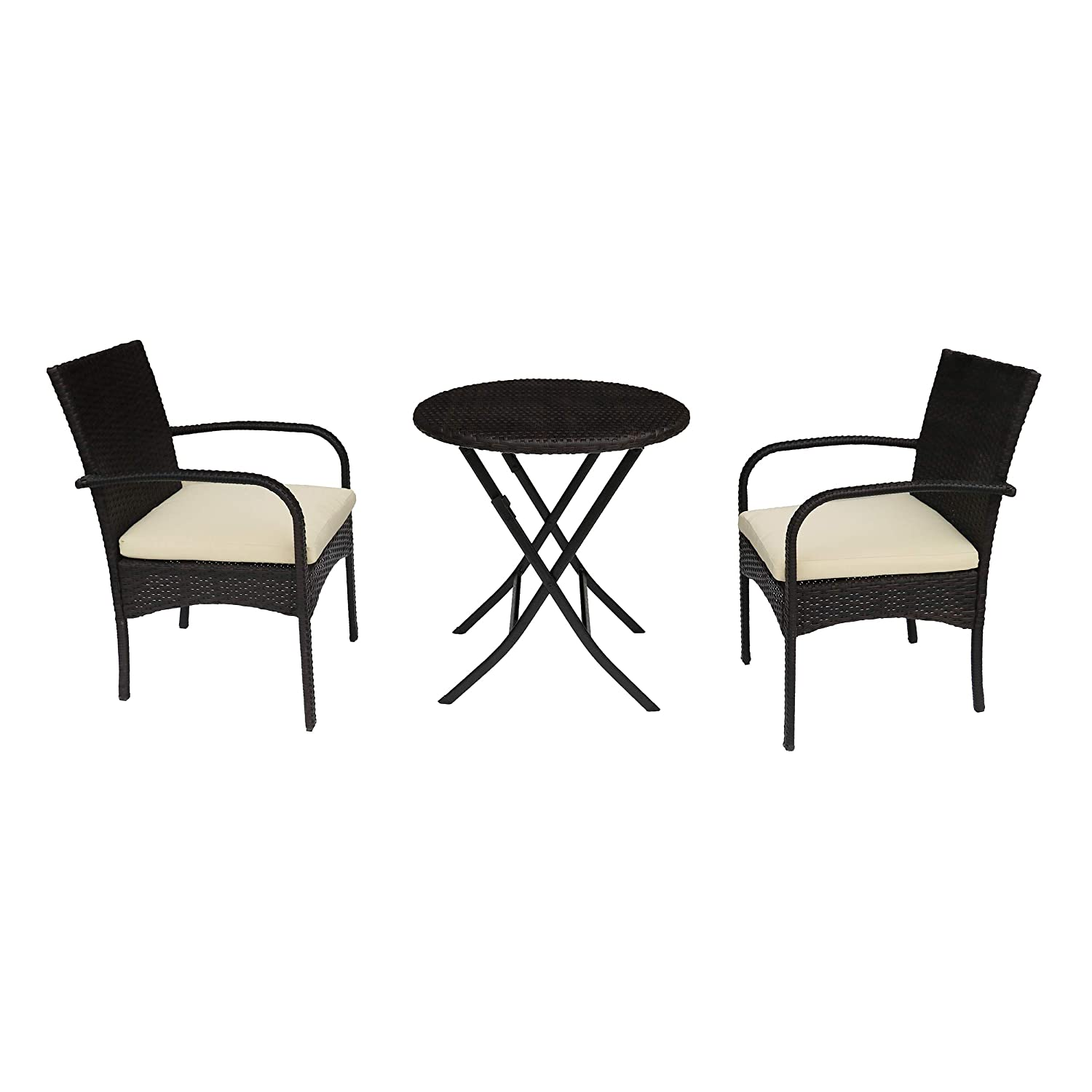 Christopher Knight Home Kevin Outdoor 3 Piece Wicker Bistro Set, Multi Brown with Cream Cushion