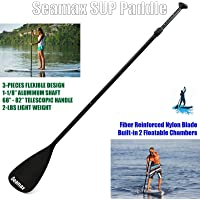 "SEAMAX SUP Paddle for All Stand Up Paddle Board Floatable and Portable, Adjustable Length 68"" to 82"" for Kid and Adult"