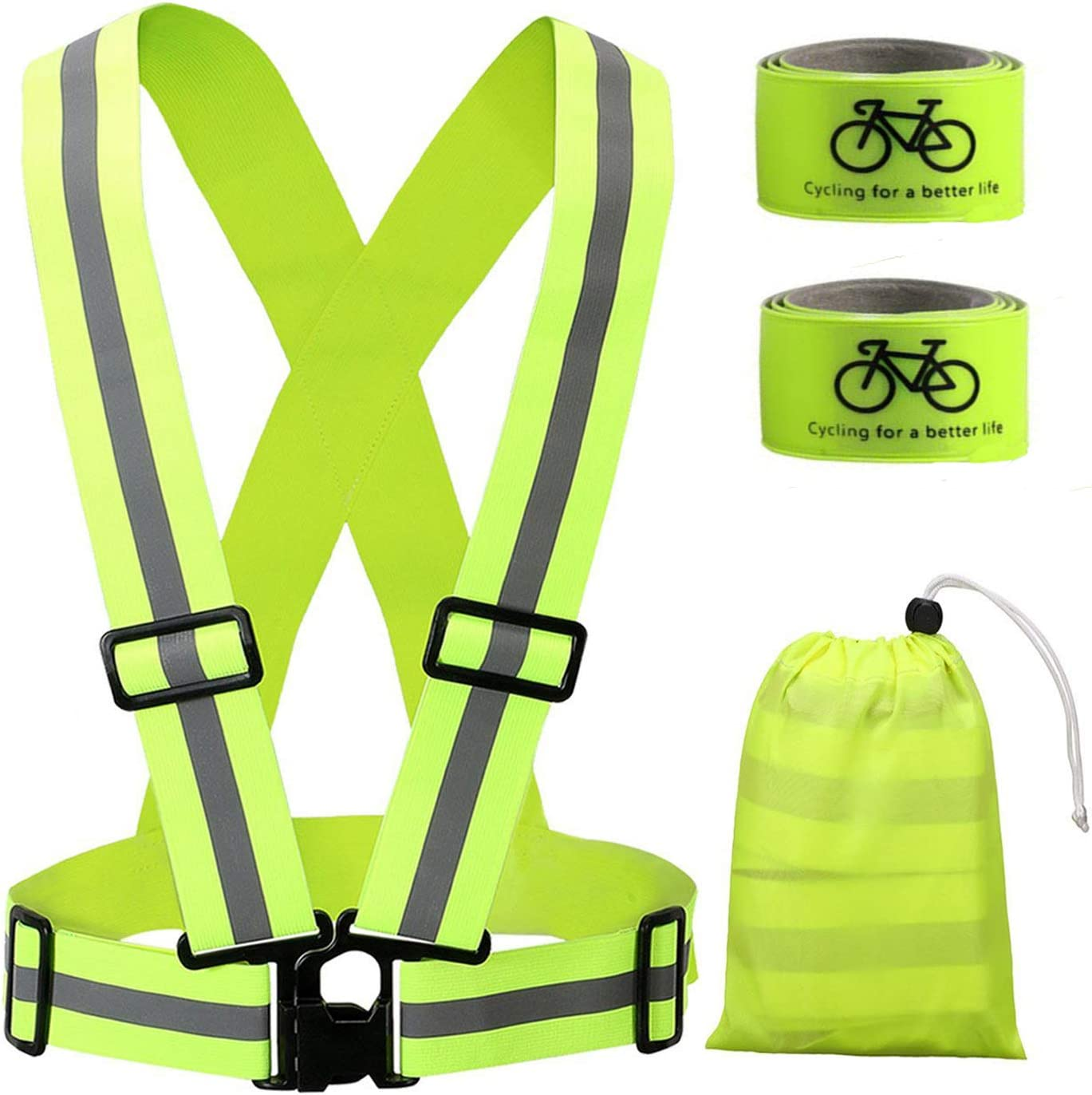 Reflective Vest L/&G Adjustable /& Multi-Purpose Safety Reflective for Day/&Night Running Jogging and Hiking Motorcycle Riding Living/&Giving Reflective Running Vest with Hi Vis Bands Cycling Riding,Walking Motorcycle