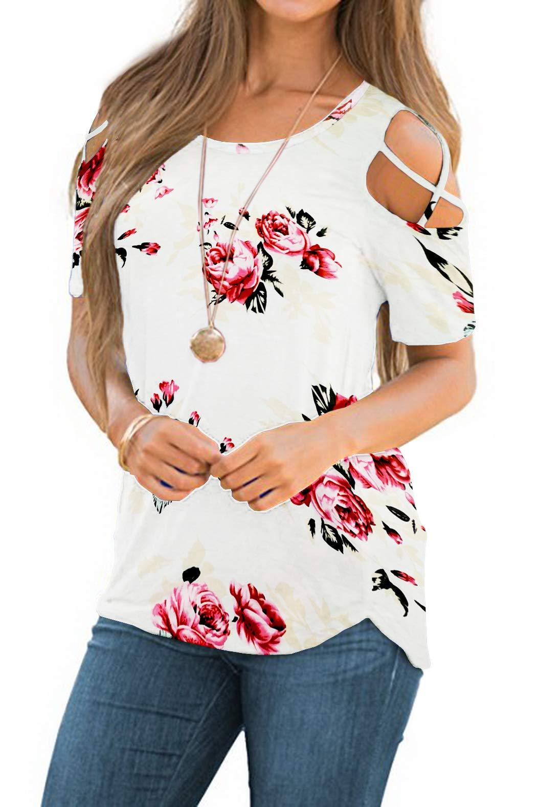 iGENJUN Women Short Sleeve Strappy Cold Shoulder T-Shirt Tops Blouses,S,DG7