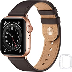 Soft Leather Watch Bands Compatible with Apple Watch Band 38mm 40mm 42mm 44mm, Special Watch Band Replacement Strap for Women Men for iWatch SE Series 6 5 4 3 2 1 (Coffee/Rose Gold,38MM/40MM)