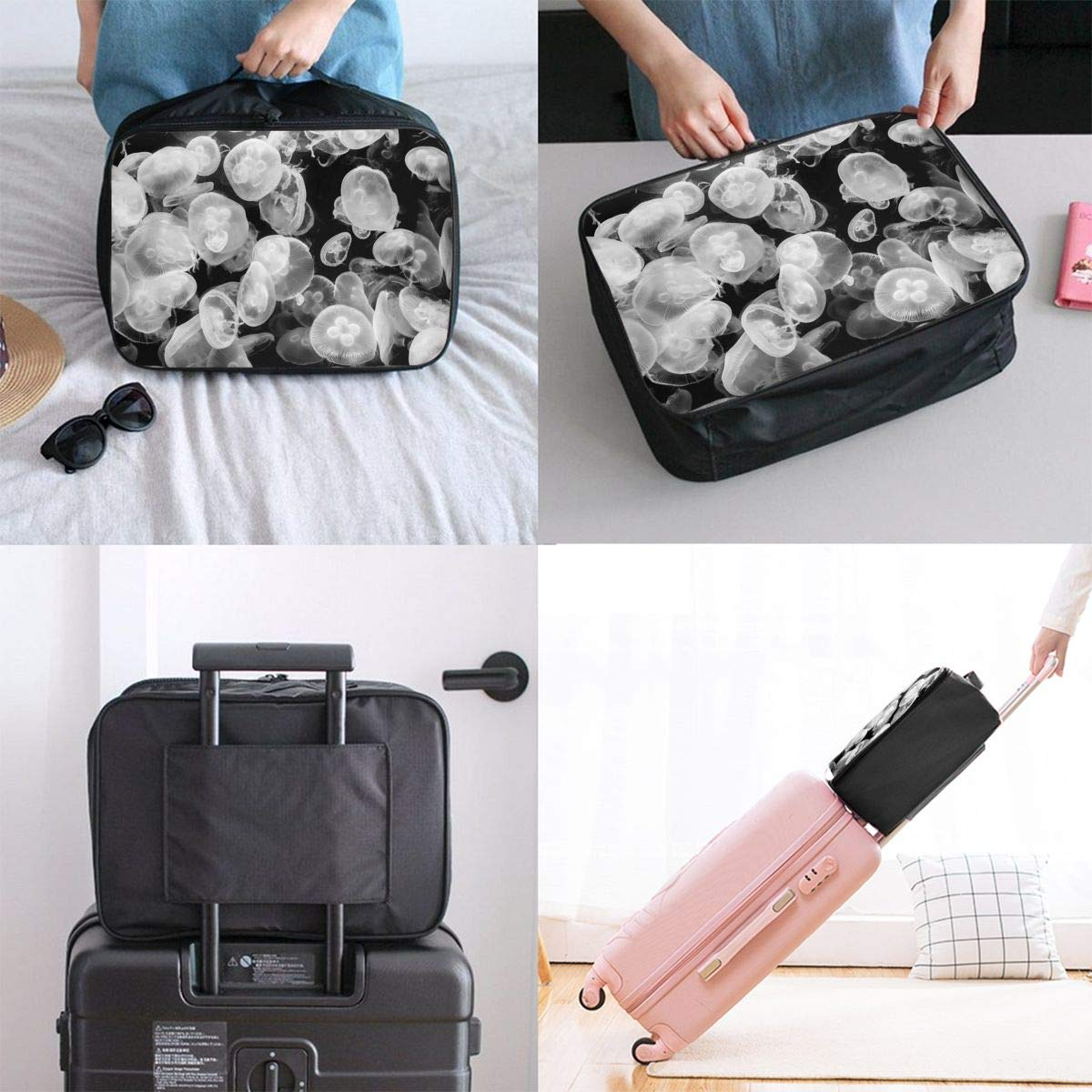 Dream Jellyfish Black Travel Duffel Bag Casual Large Capacity Portable Luggage Bag Suitcase Storage Bag Luggage Packing Tote Bag Weekend Trip