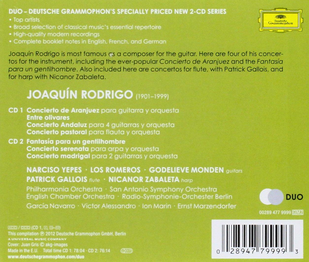 Rodrigo: Conciertos: Aranjuez, Andaluz, Pastoral, Serenata ...
