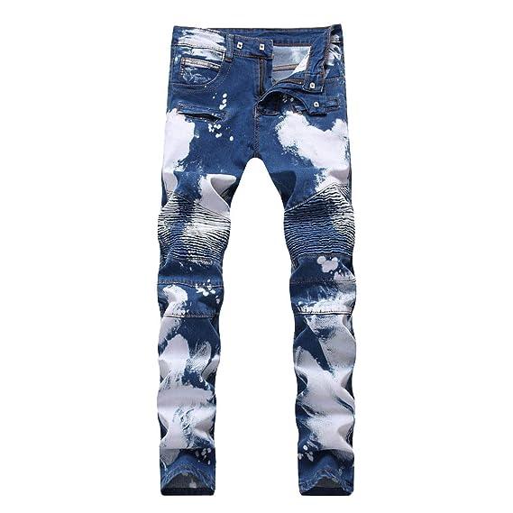 1b13dfe9fb95 CHFYI Men's Middle Waist Straight Slim Stretch Ripped Jeans: Amazon ...