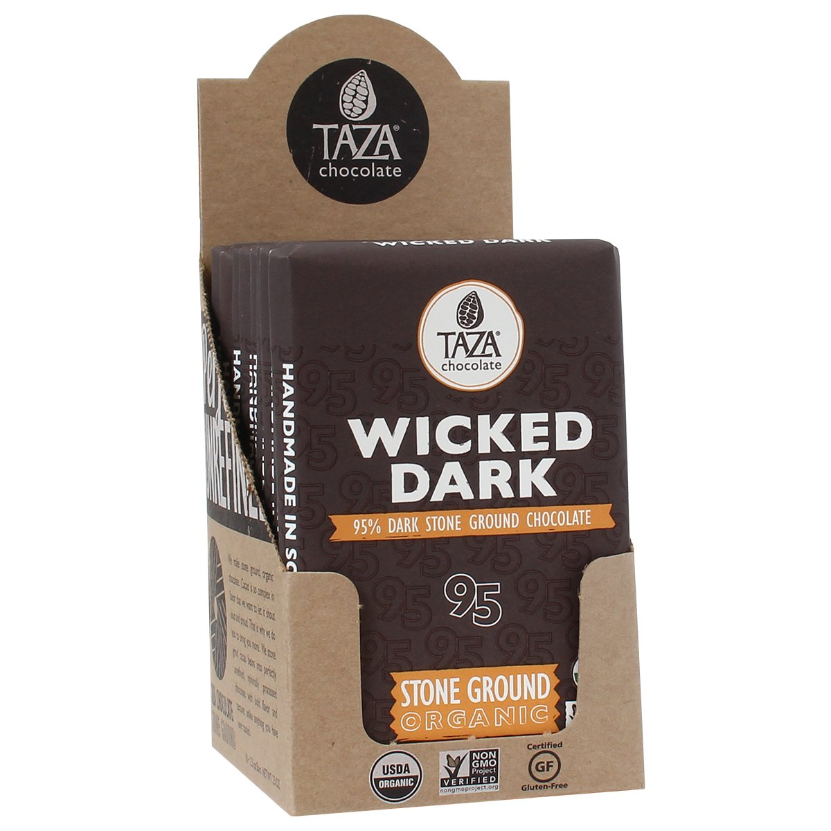 Amazon.com : Taza Chocolate, 95% Wicked Dark Amaze Bar, 2.5 oz ...