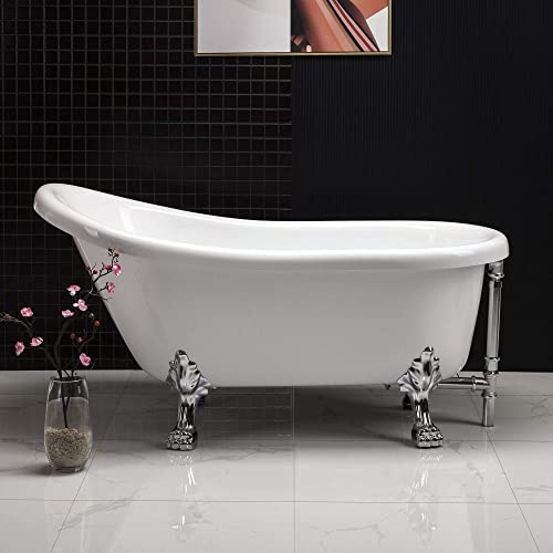 WOODBRIDGE 59 x 30 Slipper Bathtub with Solid Brass Polished Chrome Finish Drain and Overflow, BTA1522,White, clawfoot B-0022