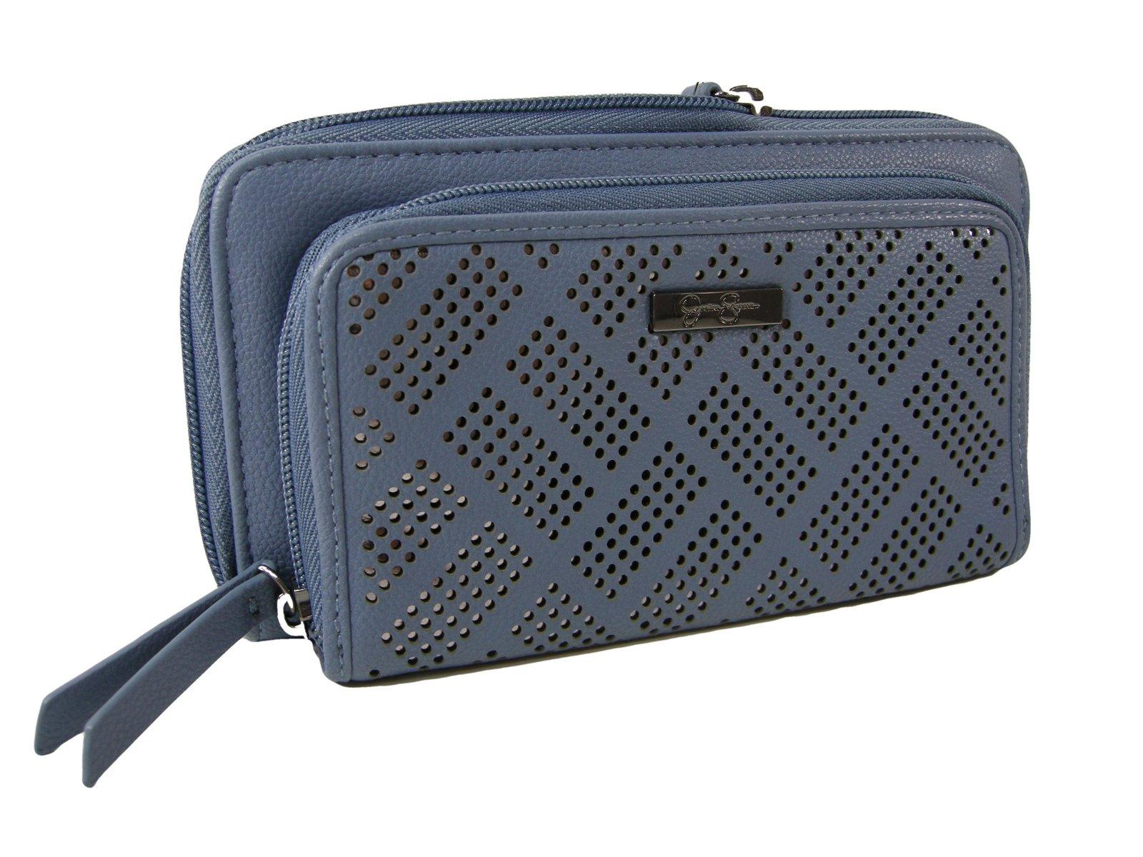 Jessica Simpson Ronette Double Zip Around Wallet,Cornflower Blue