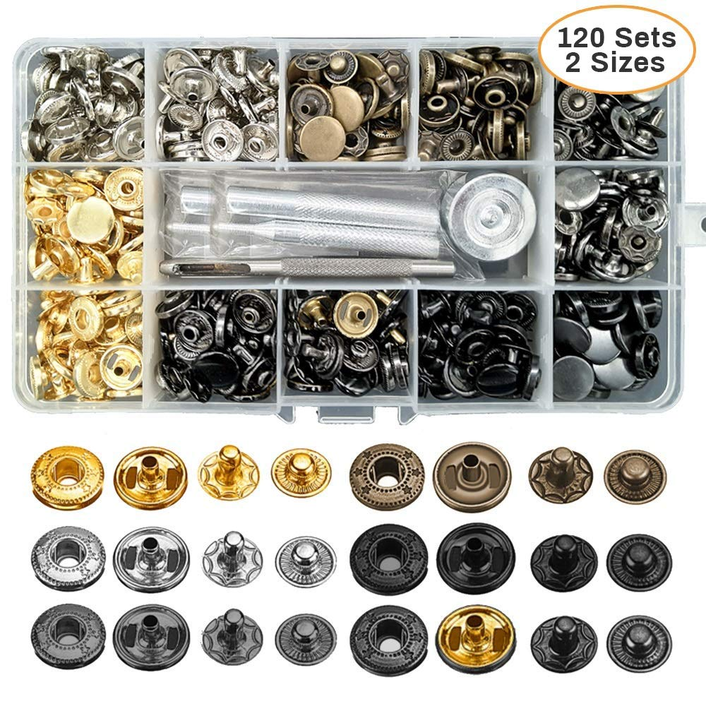 120 Sets Metal Snaps, 12.5mm and 10mm Leather Rivets with Fastener Tools for Jackets, Jeans, Bags, Belts by NEW RUICHENG