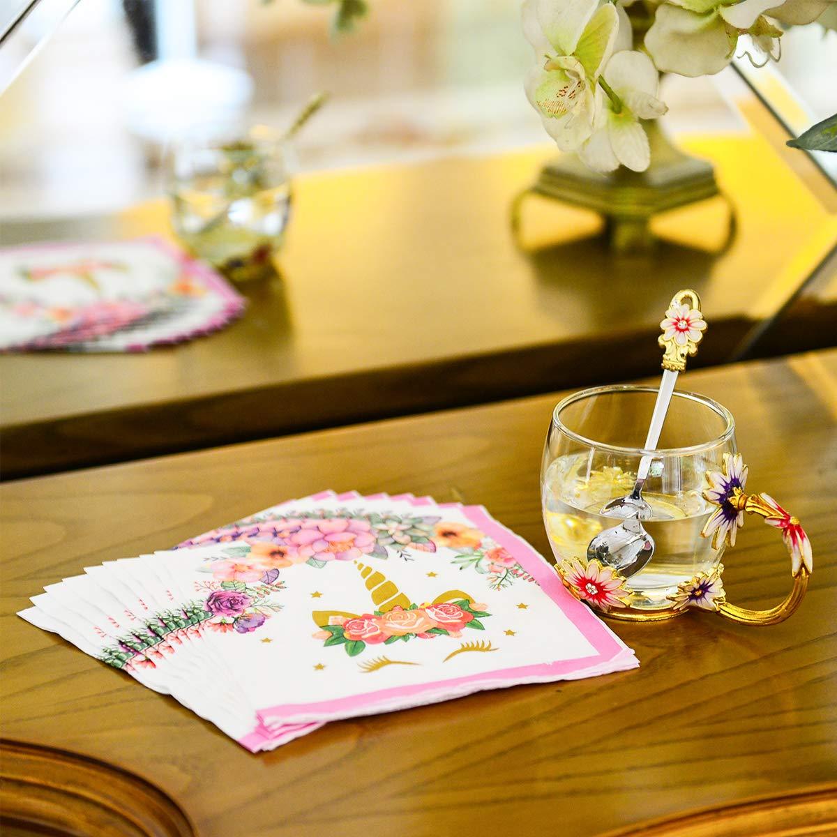 La fete Flamingo Party Napkins-60PCS Luau Disposable Napkin Pink Summer Hawaiian Themed Napkins Tableware for Girl Kids Birthday Dinner Baby Shower Wedding Lunch Napkins Paper