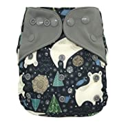 Overnight AIO Cloth Diaper Hybrid – with Charcoal Bamboo Insert Doubler Booster Pad (Polar Bear)