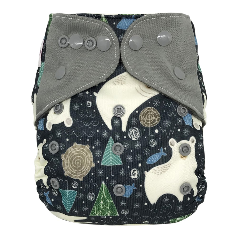 Overnight AIO Cloth Diaper Hybrid – with Charcoal Bamboo Insert Doubler Booster Pad (Polar Bear
