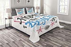Ambesonne Saying Bedspread, Tropical Summer Theme Home is Where The Beach is Phrase, Decorative Quilted 3 Piece Coverlet Set with 2 Pillow Shams, Queen Size, Charcoal Grey