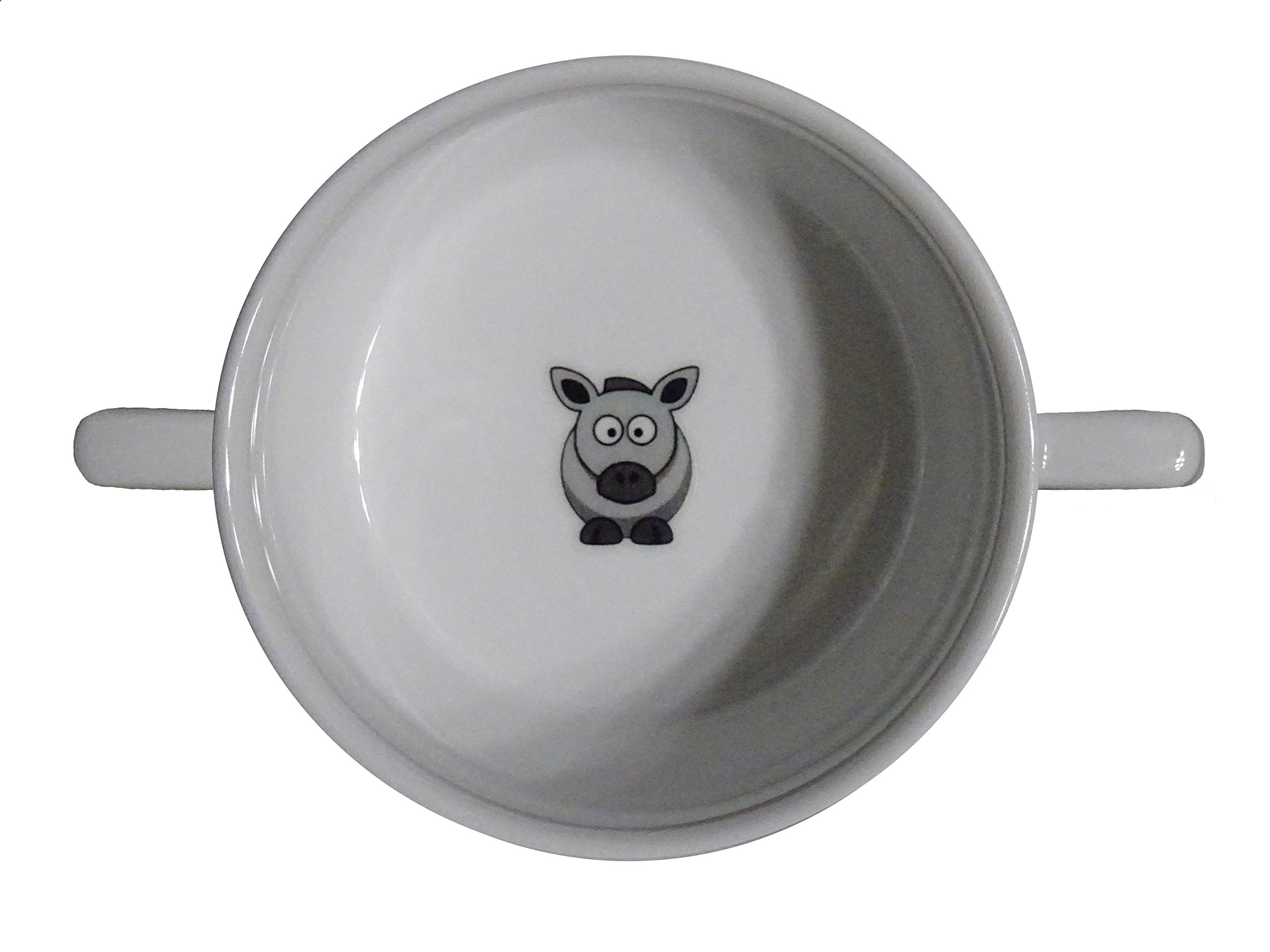 Soup Bowl 14, 1 pcs, Horse Soup Bowl Small Baby Child Kids, Bottom, Hidden Message, Secret Message, Animal,Donkey, Cartoon, Cute Animals, Farm, Horse, Kids, Porcelain