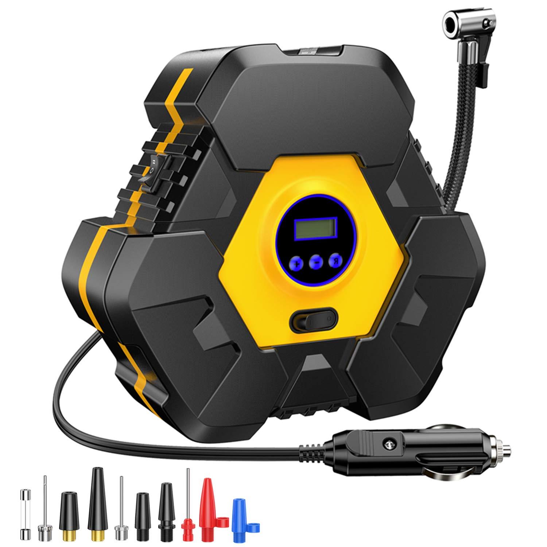Moto,ect Truck CICMOD Compressore Aria Portatile per Auto Caravan 12V 120W 100 PSI Pompa Elettrica con Manometro Digitale Luce LED per Minivan