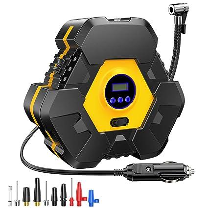 CICMOD Compresor de Aire Portátil para Coche, 12V 120W 100 PSI Inflador de Aire Neumáticos con Pantalla Digital y Luce de LED para Minivan, Caravan, ...