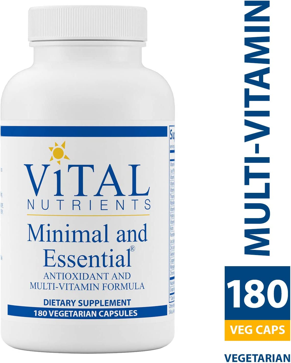 Vital Nutrients – Minimal Essential – One a Day MultiVitamin Mineral and Antioxidant Formula – 180 Vegetarian Capsules per Bottle