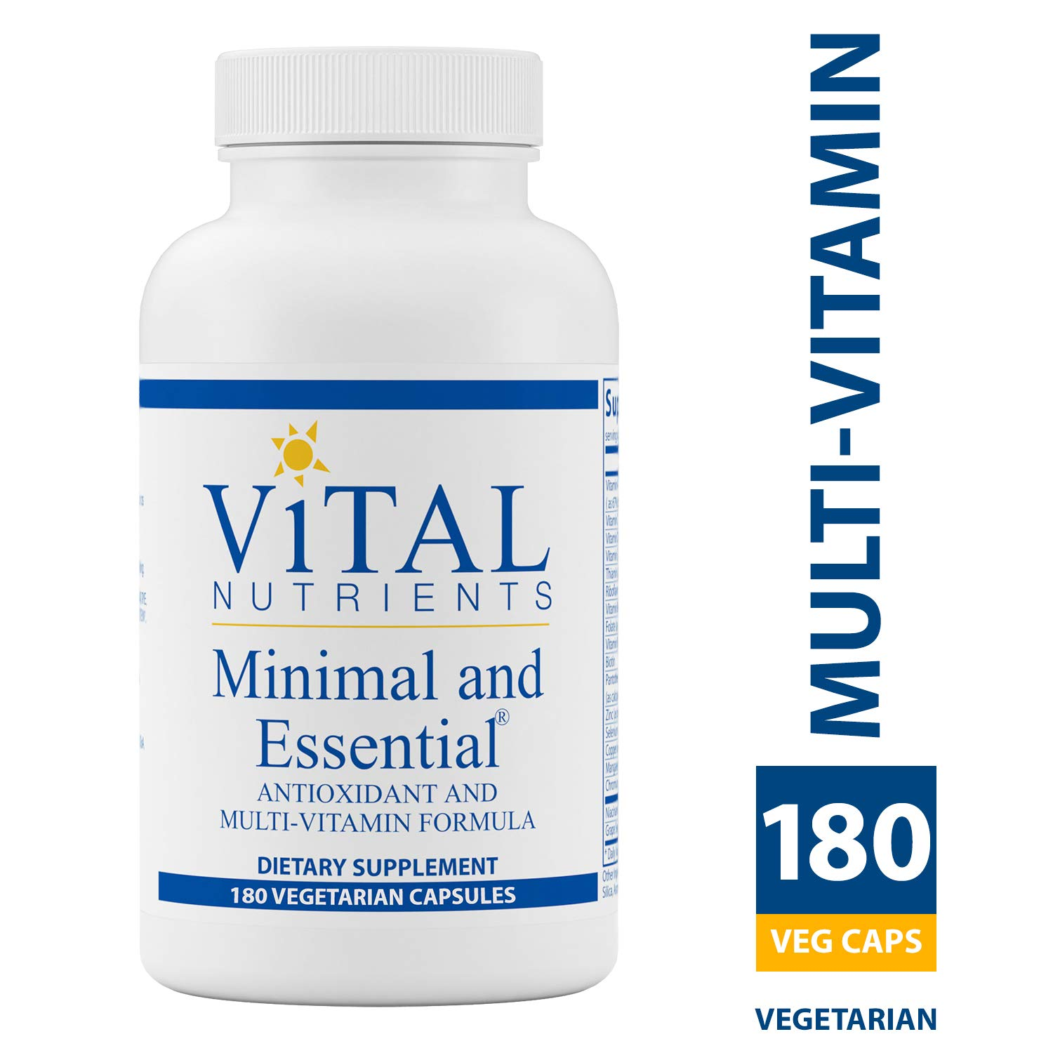 Vital Nutrients - Minimal & Essential - One a Day MultiVitamin/Mineral and Antioxidant Formula - 180 Vegetarian Capsules per Bottle