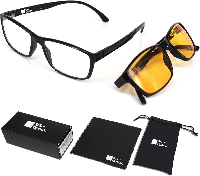 SFL + Optics. - Gafas Gaming - Gafas luz Azul - Gafas Proteccion Filtro - Protección para Pantalla/Móvil/Tablet/TV - Evita la Fatiga Ocular - Anti Luz Azul