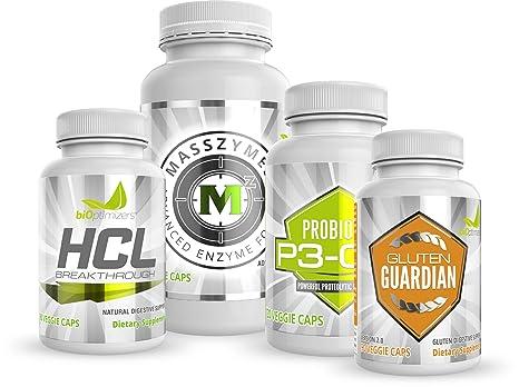 Bioptimizers Essential Digestive Enzymes Bundle P3 Om Gluten Guardian Masszymes Hcl