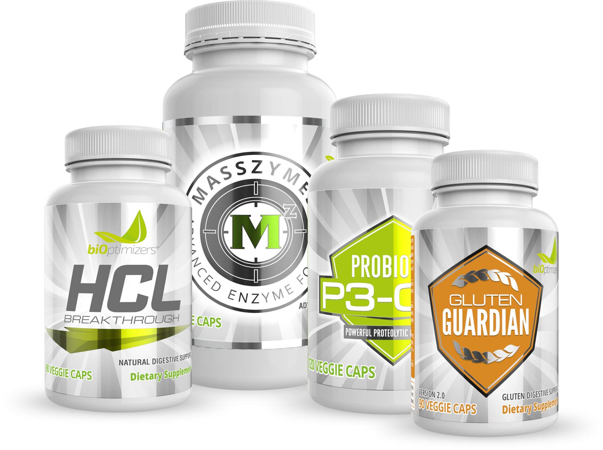 BiOptimizers - Essential Digestive Enzymes Bundle - P3-OM - Gluten Guardian - MassZymes - HCL Breakthrough - Doctor-Formulated