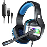 YJY Gaming Headset for PS4 PC Xbox One Over Ear Headphones with Mic LED Light Bass Surround Controller Noise Cancelling Soft