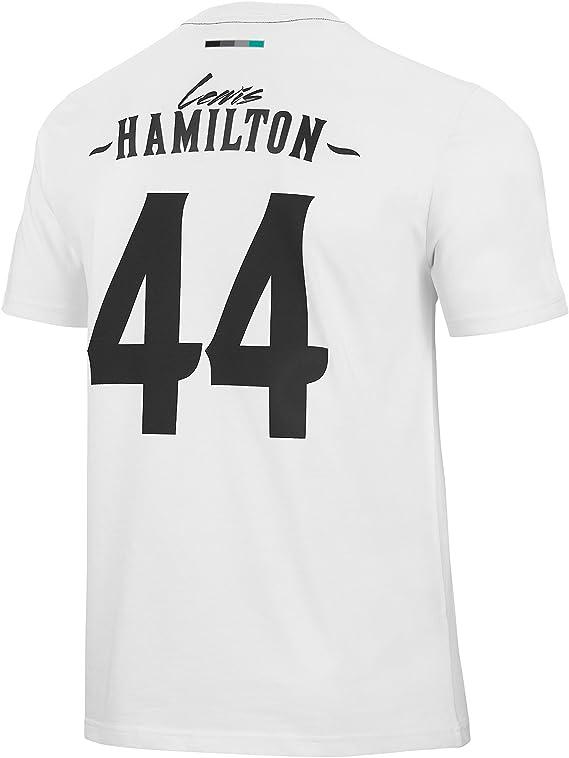 Camiseta Mercedes AMG Oficial Lewis Hamilton Blanca XXL: Amazon.es: Deportes y aire libre